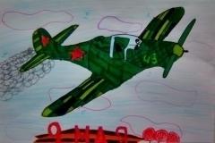 """Рисунок акварелью """"Летящий самолет"""""""